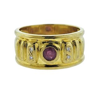 18K Gold Diamond Ruby Wide Band Ring