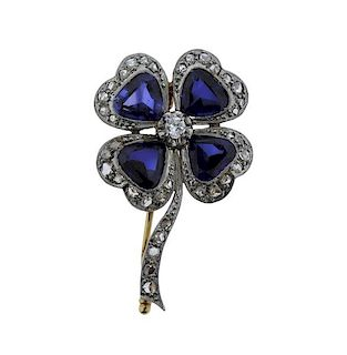 Antique 18K Gold Diamond Blue Stone Clover Brooch