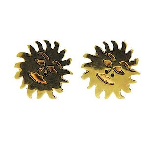 Tous 18K Gold Sun Earrings