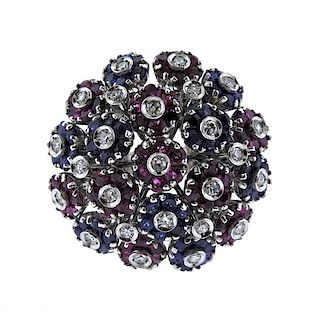 18K Gold Diamond Red Blue Stone Multi Flower Ring