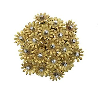 18K Gold Diamond Multi Flower Brooch Pendant