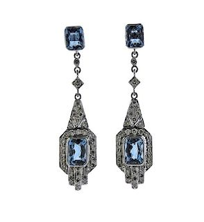 18K Gold Diamond Blue Stone Dangle Earrings
