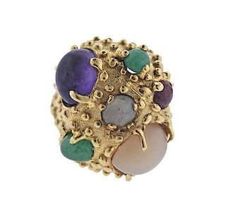14K Gold Multi Gemstone Dome Ring