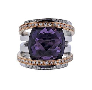 18K Gold Diamond Amethyst Multi Row Ring