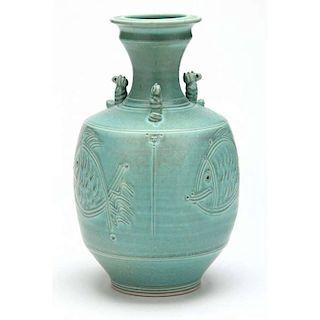 NC Pottery, Tom Turner, Carved Vase