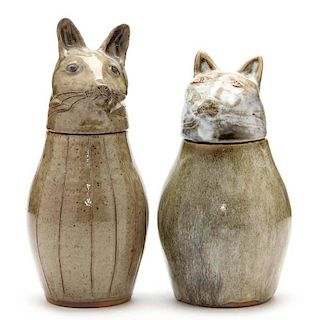NC Folk Pottery, Pamela Owens, Two Figural Canisters