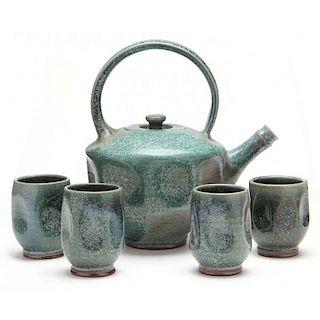 NC Pottery, Ben Owen III, Teapot and Mugs Set