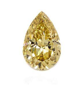 A 5.39 Pear Shape Brilliant Cut Fancy Deep Brownish Yellow Diamond,