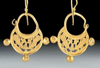 Byzantine 16K Gold Earrings w/ Peacocks, 15.1 g
