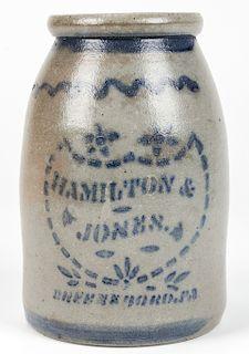 HAMILTON & JONES GREENSBORO PA, STONEWARE JAR.