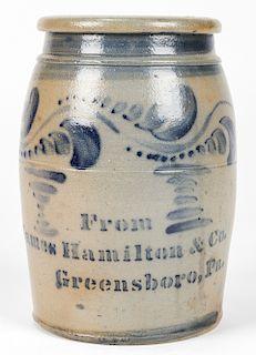 FROM JAMES HAMILTON & CO. GREENSBORO, PA, STONEWARE JAR
