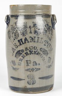 3 GALLON JAS. HAMILTON & CO, GREENSBORO PA, STONEWARE JAR