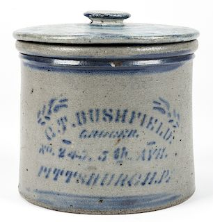 C.T. BUSHFIELD PITTSBURGH, PA, STONEWARE LIDDED JAR