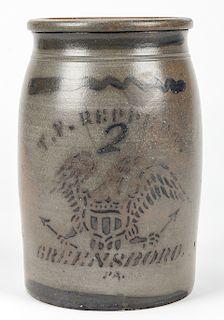 2 GALLON T.V. REPPERT GREENSBORO PA. STONEWARE JAR