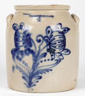 4 GALLON N. WHITE & CO. BINGHAMTON, STONEWARE JAR