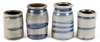 4 STONEWARE JARS