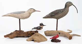 Group of 4 Hand Carved Shore Birds