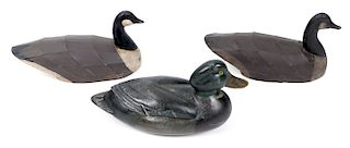3 Carved and Painted Wood Duck Decoys