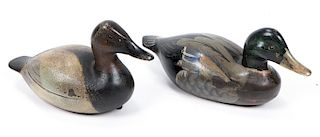 2 Carved and Painted Wood Duck Decoys