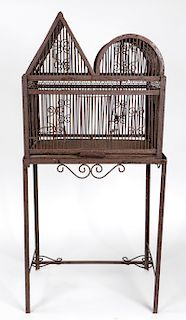 Antique Metal Bird Cage on Stand