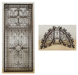 2 Fine Antique Bronze/Iron Door & Gate