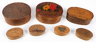 7 Antique Oval Shaker Lidded Boxes