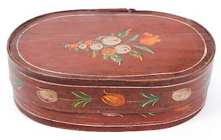 Antique Oval Paint Decorated Shaker Lidded Box