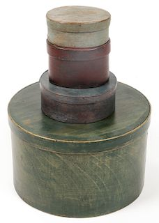 4 Painted Antique Shaker Lidded Boxes