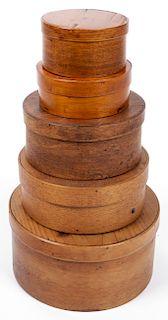 5 Antique Shaker Lidded Boxes