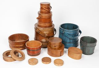 Collection of Misc. Antique Baskets, Buckets & Storage Containers