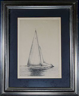 Manner of Edward Hopper, Yachting Scene Etching