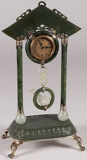 IMPORTANT CHINESE JADE & SILVER MOUNTED CLOCK