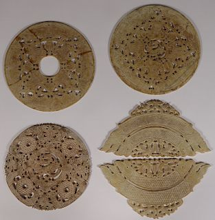 3 LARGE CHINESE ARCHAIC STYLE CARVED BI DISCS
