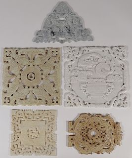 FIVE LARGE CHINESE CARVED PLAQUES