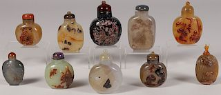 TEN CHINESE CARVED AGATE SNUFF BOTTLES