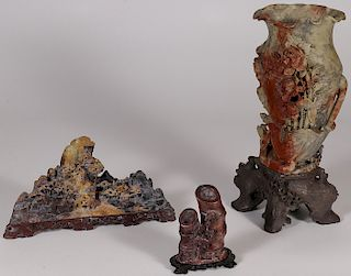 A GROUP OF CHINESE CARVED HARDSTONE