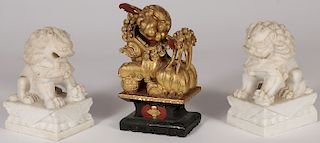 THREE CHINESE CARVED FOO DOGS