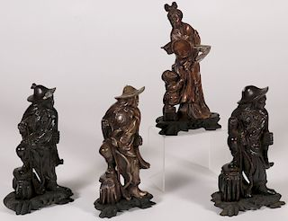 FOUR CHINESE CARVED HARDSTONE FIGURES