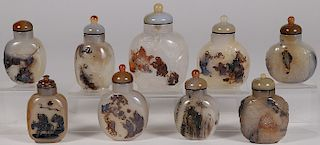 NINE CHINESE CARVED AGATE SNUFF BOTTLES