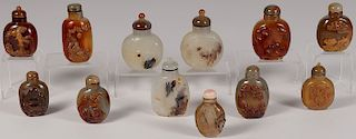 12 CHINESE CARVED AGATE SNUFF BOTTLES