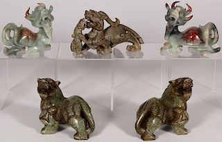 FIVE CHINESE CARVED HARDSTONE FIGURES