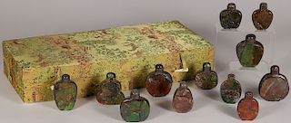12 CHINESE CARVED AMMOLITE SNUFF BOTTLES