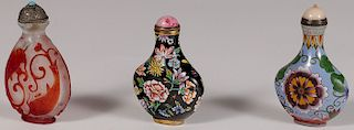 THREE CHINESE SNUFF BOTTLES, PROBABLY 19TH C.