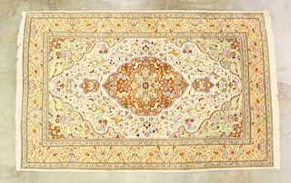 RARE Persian Hunt Medallion Silk Rug EARLY