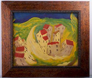 Chaim Soutine Village Scene Oil On Canvas
