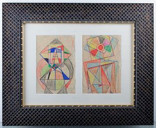 Kasimir Malevich Abstract Drawings On Paper Pair