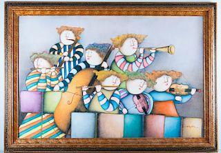 Joyce Roybal Musicians Acrylic on Canvas