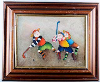Joyce Roybal Field Hockey Players Acrylic Ptg