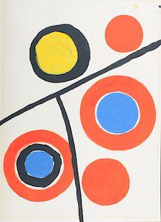 Alexander Calder Acrylic On Paper Geometric Ptg