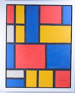 Piet Mondrian Attributed Neoplasticist Oil